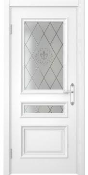 Межкомнатная дверь SK007 (белая эмаль / стекло с гравировкой) — 5081