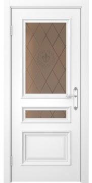 Межкомнатная дверь SK007 (белая эмаль / стекло бронзовое с гравировкой) — 5080
