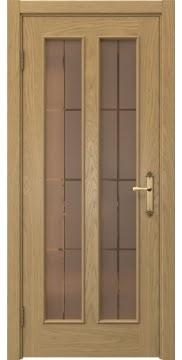 Межкомнатная дверь SK008 (натуральный шпон дуба / стекло бронзовое решетка) — 5092