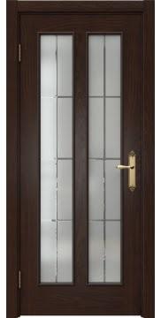 Межкомнатная дверь SK008 (шпон дуб коньяк / стекло решетка) — 5097