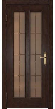 Межкомнатная дверь, SK008 (шпон дуб коньяк, стекло бронзовое)