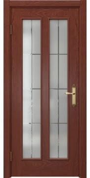Межкомнатная дверь SK008 (шпон красное дерево / стекло решетка) — 5100