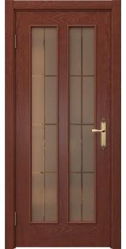 Межкомнатная дверь SK008 (шпон красное дерево / стекло бронзовое решетка) — 5098