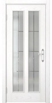 Межкомнатная дверь SK008 (шпон ясень белый / стекло решетка) — 5109