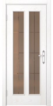 Межкомнатная дверь SK008 (шпон ясень белый / стекло бронзовое решетка) — 5107