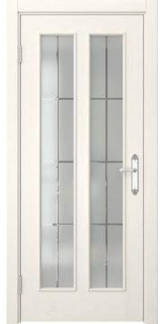 Межкомнатная дверь, SK008 (шпон ясень слоновая кость, матовое стекло)