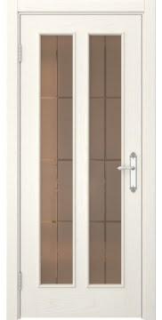 Межкомнатная дверь SK008 (шпон ясень слоновая кость / стекло бронзовое решетка) — 5110