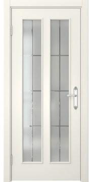 Межкомнатная дверь SK008 (эмаль слоновая кость / стекло решетка) — 5106