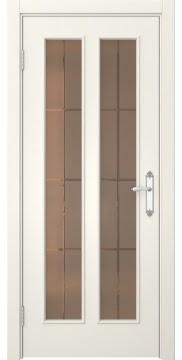 Межкомнатная дверь SK008 (эмаль слоновая кость / стекло бронзовое решетка) — 5104