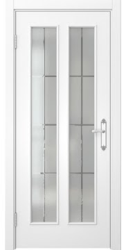 Межкомнатная дверь SK008 (белая эмаль / стекло решетка) — 5103