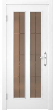 Межкомнатная дверь SK008 (белая эмаль / стекло бронзовое решетка) — 5101