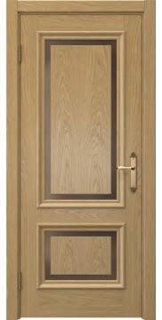 Дверь классика SK009 (шпон дуб натуральный, стекло бронзовое)