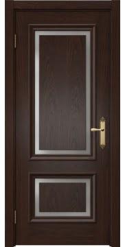 Межкомнатная дверь, каркас: массив сосны и МДФ, SK009 (шпон дуб коньяк, матовое стекло)