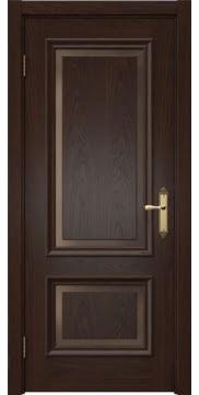 Межкомнатная дверь SK009 (шпон дуб коньяк, стекло бронзовое)