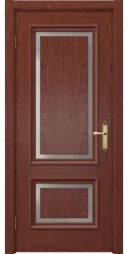 Межкомнатная дверь, SK009 (шпон красное дерево, матовое стекло)