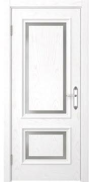 Межкомнатная дверь, SK009 (шпон белый ясень, матовое стекло)