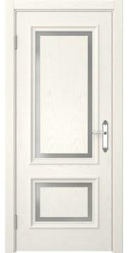 Межкомнатная дверь, SK009 (шпон ясень слоновая кость, матовое стекло)