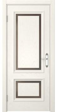 Межкомнатная дверь, SK009 (шпон ясень слоновая кость, стекло бронзовое)