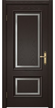 Межкомнатная дверь SK009 (шпон ясень темный / матовое стекло) — 5228