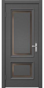 Межкомнатная дверь, SK009 (эмаль серая, стекло бронзовое)