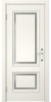 Межкомнатная дверь, SK009 (эмаль слоновая кость, матовое стекло)