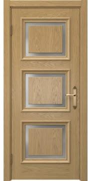 Межкомнатная дверь, SK010 (шпон дуб натуральный, матовое стекло)