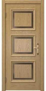 Дверь классика SK010 (шпон дуб натуральный, стекло бронзовое)