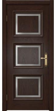Межкомнатная дверь, SK010 (шпон дуб коньяк, матовое стекло)
