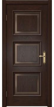Классическая межкомнатная дверь SK010 (шпон дуб коньяк, стекло бронзовое)