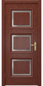 Межкомнатная дверь, SK010 (шпон красное дерево, матовое стекло)