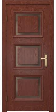 Межкомнатная дверь, SK010 (шпон красное дерево, стекло бронзовое)