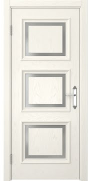 Межкомнатная дверь, SK010 (шпон ясень слоновая кость, матовое стекло)