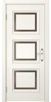 Межкомнатная дверь, SK010 (шпон ясень слоновая кость, стекло бронзовое)