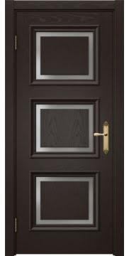 Межкомнатная дверь SK010 (шпон ясень темный / матовое стекло) — 5248