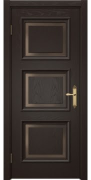 Межкомнатная дверь, каркас из массива сосны, SK010 (шпон ясень темный, стекло бронзовое)