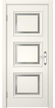 Межкомнатная дверь, SK010 (эмаль слоновая кость, матовое стекло)