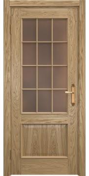 Межкомнатная дверь, SK011 (шпон дуб натуральный, стекло бронзовое)