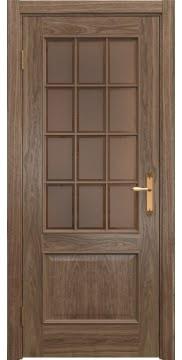 Межкомнатная дверь SK011 (шпон американский орех / стекло бронзовое рамка) — 5812