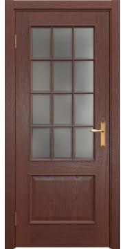 Межкомнатная дверь, SK011 (шпон красное дерево, остекленная)
