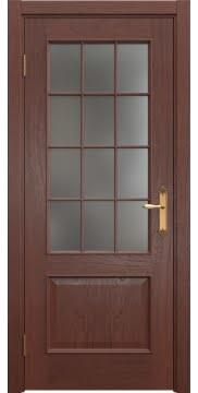 Межкомнатная дверь, SK011 (шпон красное дерево, матовое стекло)