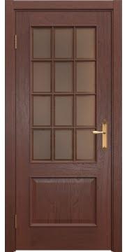 Межкомнатная дверь, SK011 (шпон красное дерево, стекло бронзовое)