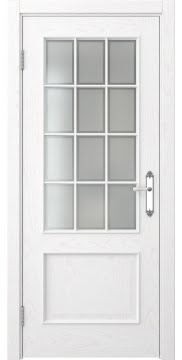 Дверь классика с английской решеткой SK011 (шпон белый ясень, остекленная)