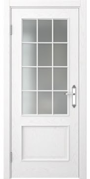 Межкомнатная дверь SK011 (шпон ясень белый / матовое стекло) — 5656