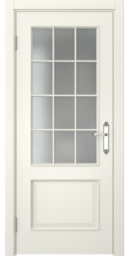 Межкомнатная дверь, SK011 (эмаль слоновая кость, матовое стекло)