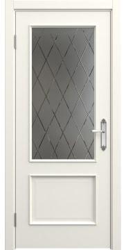 Межкомнатная дверь SK011 (эмаль слоновая кость / стекло бронзовое рамка) — 5649