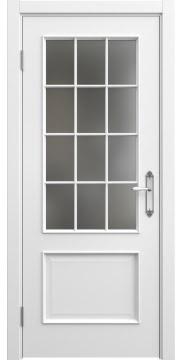 Межкомнатная дверь, SK011 (эмаль белая, матовое стекло)