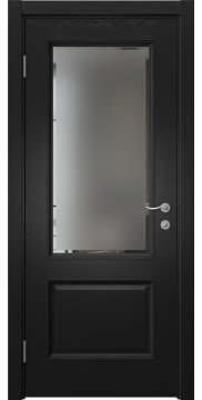Межкомнатная дверь SK014 (шпон ясень черный / стекло с фацетом) — 5937