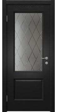 Межкомнатная дверь, SK014 (шпон ясень черный, стекло с гравировкой)