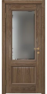 Межкомнатная дверь SK014 (шпон американский орех / стекло с фацетом) — 5928