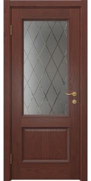 Межкомнатная дверь SK014 (шпон красное дерево / сатинат ромб) — 5924